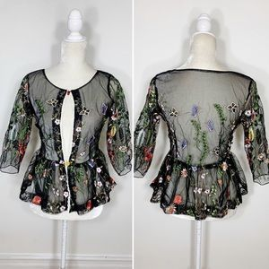 Tops - UNBRANDED sheer embroidered peplum floral top
